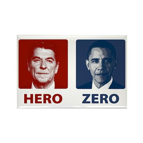 Obama Hero or Zero Rectangle Magnet