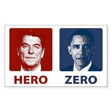 Obama Hero or Zero Rectangle Bumper Stickers