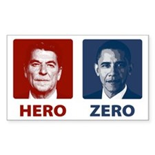 Obama Hero or Zero Rectangle Decal