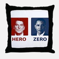 Obama Hero or Zero Throw Pillow