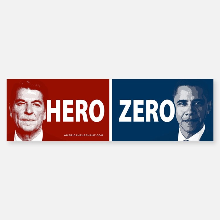 Obama Hero or Zero Bumper Bumper Bumper Sticker