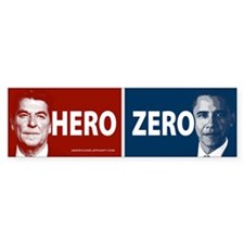 Obama Hero or Zero Bumper Bumper Stickers