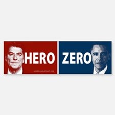Obama Hero or Zero Bumper Car Car Sticker