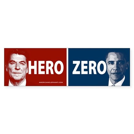 Obama Hero or Zero Bumper Car Sticker by elephantusa