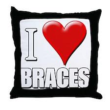 I Love (Heart) Braces Throw Pillow