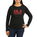 26.2 never again Women's Long Sleeve Dark T-Shirt