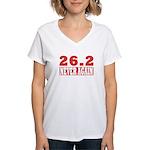 26.2 never again Women's V-Neck T-Shirt