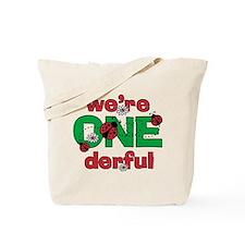 ONEderful Ladybug Twins Birthday Tote Bag