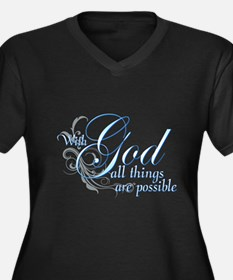 With God All Things are Possi Women's Plus Size V-