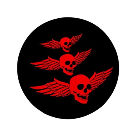 "Flying Red Skulls 3.5"" Button"