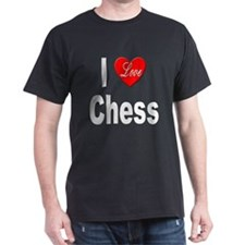 I Love Chess (Front) Black T-Shirt