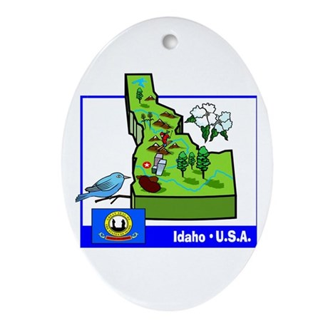 Idaho Map Oval Ornament