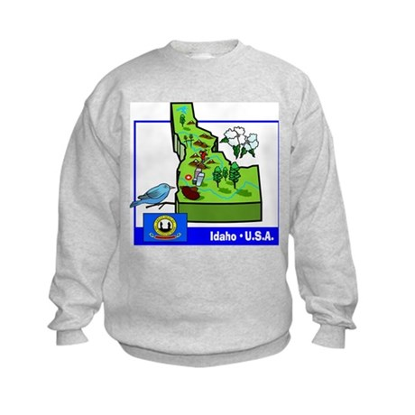 Idaho Map Kids Sweatshirt