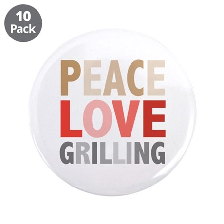 "Peace Love Grilling 3.5"" Button (10 pack)"