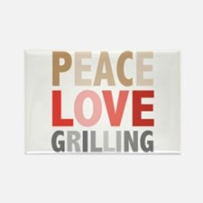 Peace Love Grilling Rectangle Magnet
