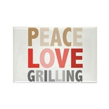 Peace Love Grilling Rectangle Magnet (10 pack)