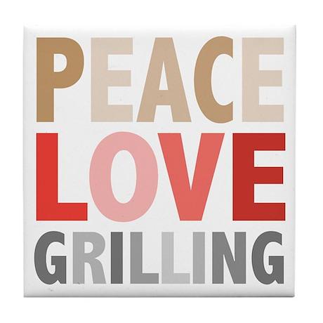 Peace Love Grilling Tile Coaster