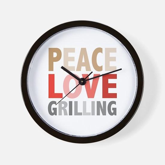 Peace Love Grilling Wall Clock