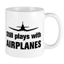 Still plays with Airplanes-Co Small Mugs