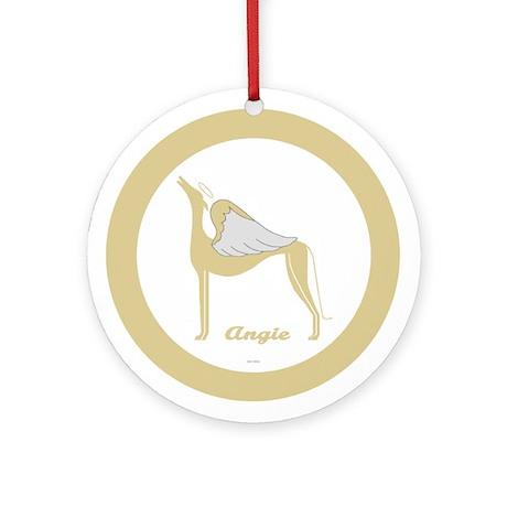 ANGIE ANGEL GREY ROUND ORNAMENT