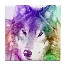 Wolf Gaze Art Tile Coaster