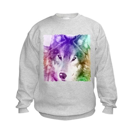 Wolf Gaze Art Kids Sweatshirt