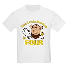 Little Monkey 4th Birthday Boy T-Shirt