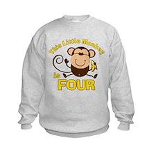 Little Monkey 4th Birthday Boy Sweatshirt