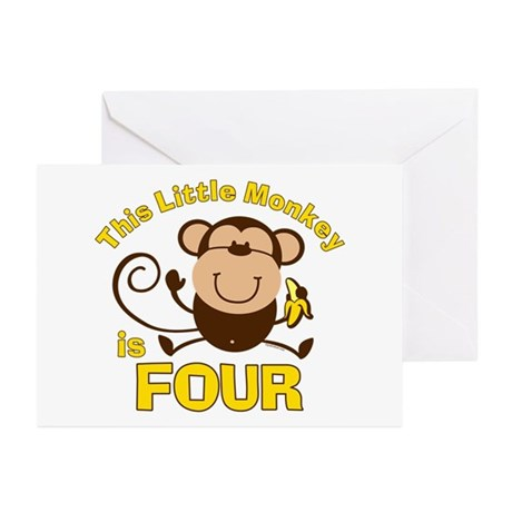 Little Monkey 4th Birthday Boy Cards (Pk of 10)