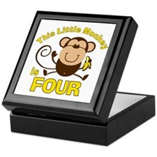 Little Monkey 4th Birthday Boy Keepsake Box