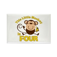 Little Monkey 4th Birthday Boy Rectangle Magnet