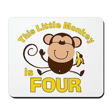 Little Monkey 4th Birthday Boy Mousepad