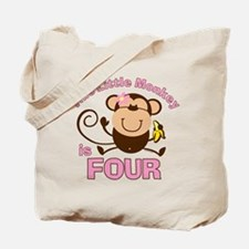 Little Monkey 4th Birthday Girl Tote Bag