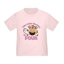 Little Monkey 4th Birthday Girl T
