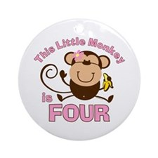 Little Monkey 4th Birthday Girl Ornament (Round)