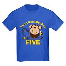 Little Monkey 5th Birthday Boy T
