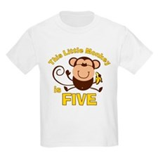 Little Monkey 5th Birthday Boy T-Shirt