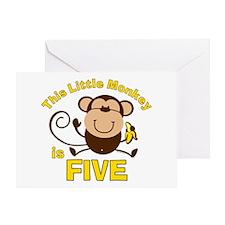 Little Monkey 5th Birthday Boy Greeting Card