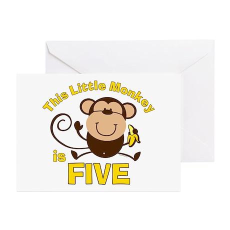Little Monkey 5th Birthday Boy Cards (Pk of 10)