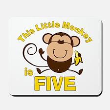 Little Monkey 5th Birthday Boy Mousepad