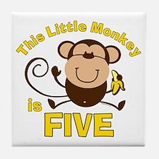 Little Monkey 5th Birthday Boy Tile Coaster