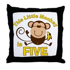 Little Monkey 5th Birthday Boy Throw Pillow