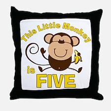Little Monkey 5th Birthday Boy Throw Pillow