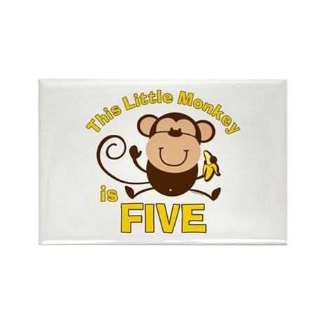 Little Monkey 5th Birthday Boy Rectangle Magnet