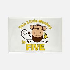 Little Monkey 5th Birthday Boy Rectangle Magnet