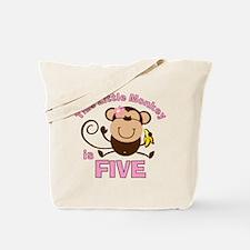 Little Monkey 5th Birthday Girl Tote Bag