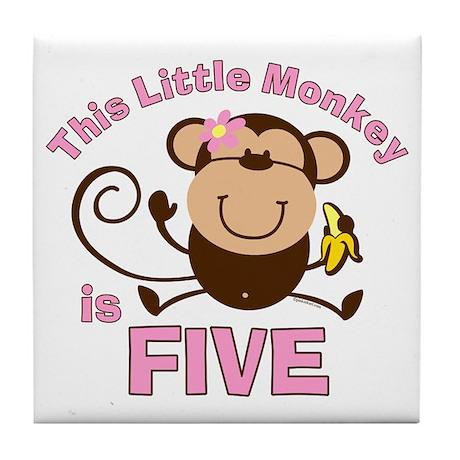 Little Monkey 5th Birthday Girl Tile Coaster