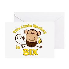 Little Monkey 6th Birthday Boy Greeting Card