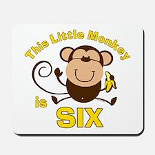 Little Monkey 6th Birthday Boy Mousepad
