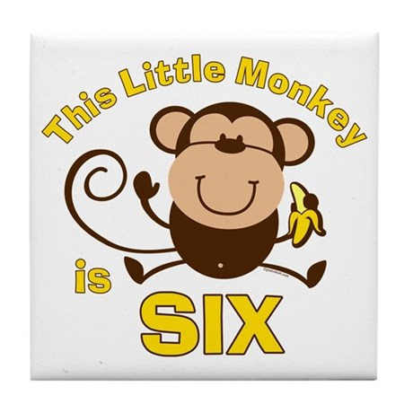 Little Monkey 6th Birthday Boy Tile Coaster